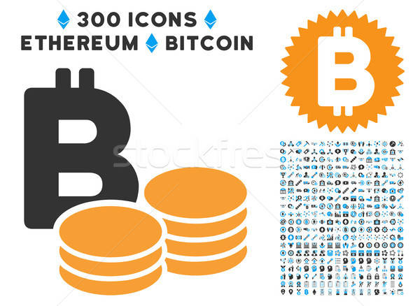 Bitcoin Coins Flat Icon with Clip Art Stock photo © ahasoft