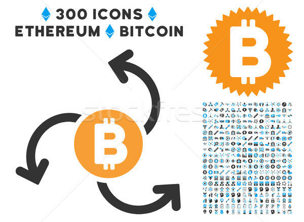 Bitcoin Source Swirl Flat Icon with Set Stock photo © ahasoft