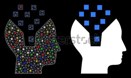 Ethereum Mind Flat Icon with Collection Stock photo © ahasoft