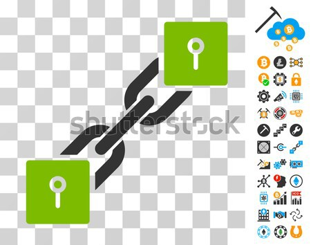Locker Blockchain Flat Icon with Collection Stock photo © ahasoft