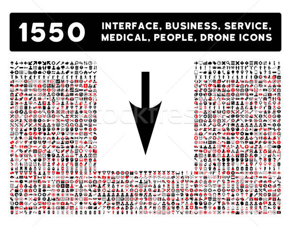 Sharp Down Arrow Icon and More Interface, Business, Tools, People, Medical, Awards Flat Vector Icons Stock photo © ahasoft