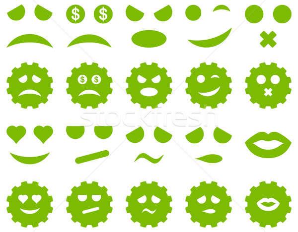 Tool versnelling glimlach emotie iconen ingesteld Stockfoto © ahasoft