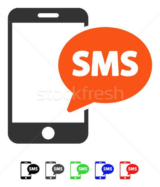 Telefon sms ikon vektor piktogram színes Stock fotó © ahasoft
