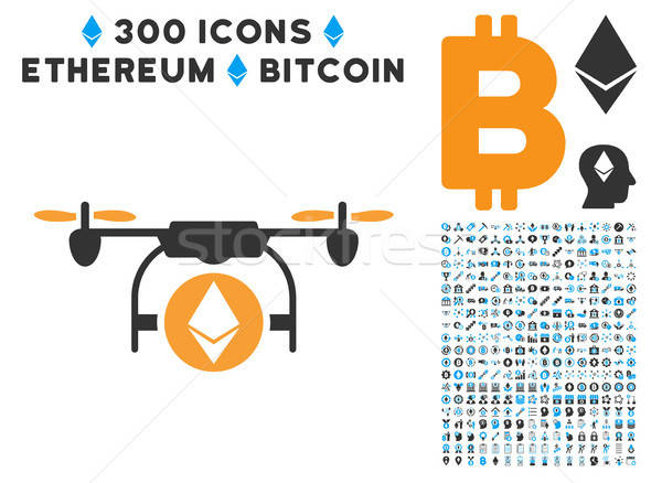 Ethereum Airdrone Flat Icon with Set Stock photo © ahasoft