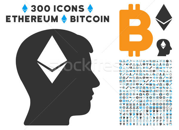 Ethereum Thinking Head Flat Icon with Stock photo © ahasoft