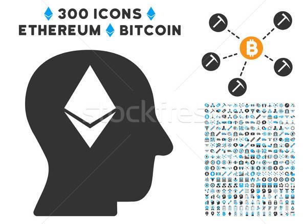 Myślenia głowie ikona clipart bitcoin smart Zdjęcia stock © ahasoft