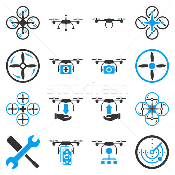 Stock photo: Flying drone flat bicolor icons
