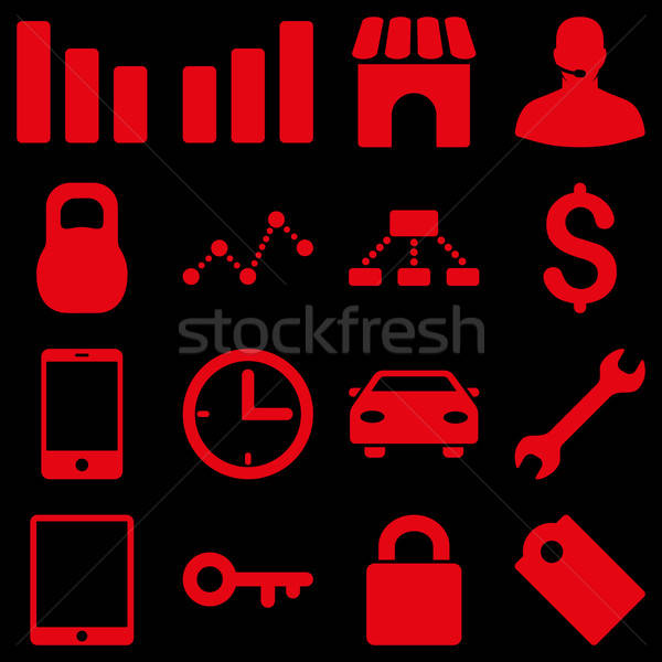 Básico negocios iconos vector símbolos rojo Foto stock © ahasoft