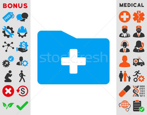 Medische map icon vector stijl symbool Stockfoto © ahasoft