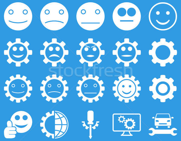 Stockfoto: Tools · glimlach · versnellingen · iconen · vector · ingesteld