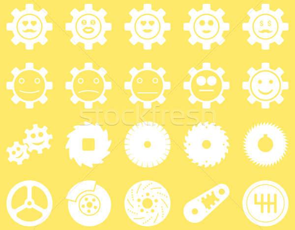 Ferramentas sorrir engrenagens ícones conjunto estilo Foto stock © ahasoft