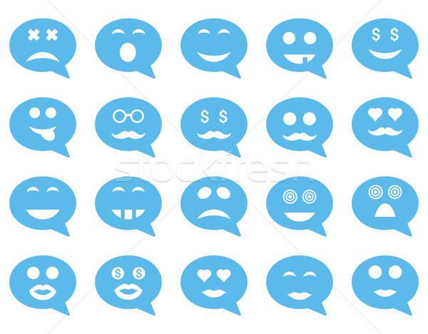 Chat érzelem mosoly ikonok vektor szett Stock fotó © ahasoft
