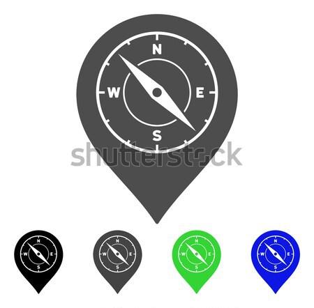 Bússola mapa marcador ícone vetor estilo Foto stock © ahasoft