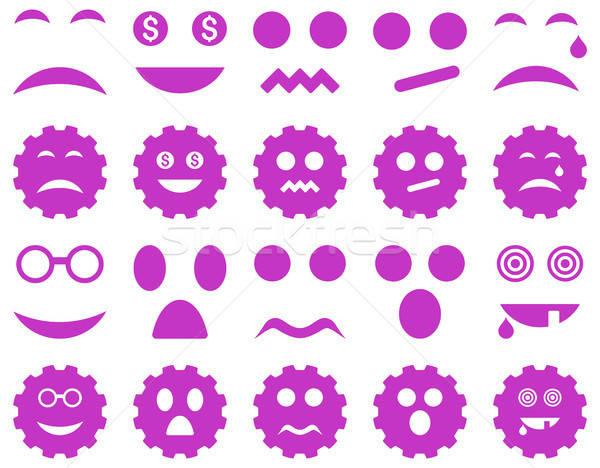Tool versnelling glimlach emotie iconen vector Stockfoto © ahasoft