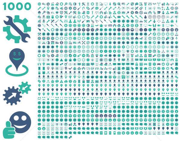 1000 narzędzia narzędzi uśmiecha Pokaż komórkowych Zdjęcia stock © ahasoft
