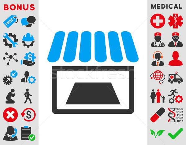 Tienda icono vector estilo símbolo azul Foto stock © ahasoft