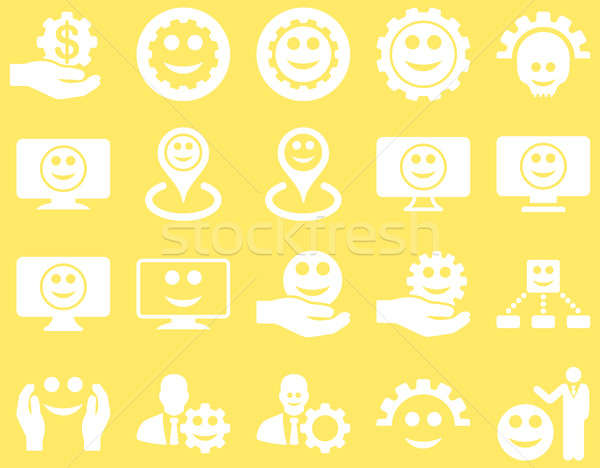 Stock photo: Tools, gears, smiles, map markers icons.