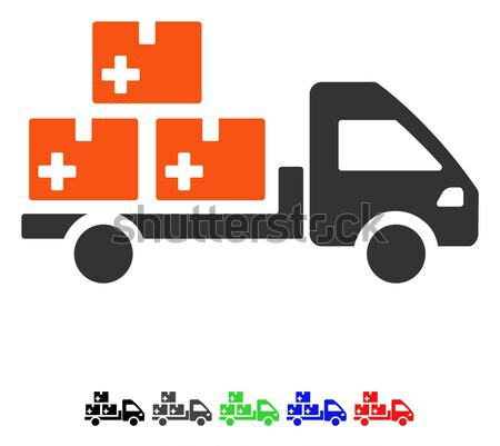 Medical Delivery Links Flat Vector Icon Stock photo © ahasoft