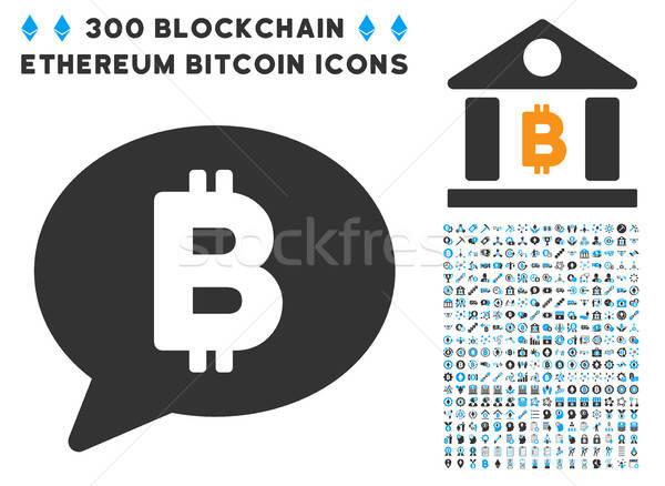 Foto stock: Bitcoin · mensagem · balão · ícone · coleção · inteligente