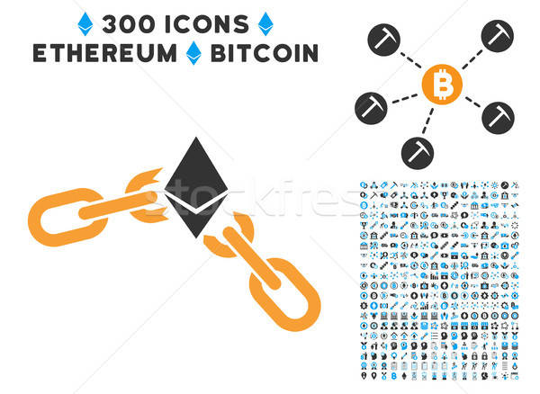 Ethereum Broken Chain Flat Icon with Collection Stock photo © ahasoft