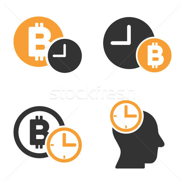 Bitcoin Credit Time Vector Icon Set Stock photo © ahasoft