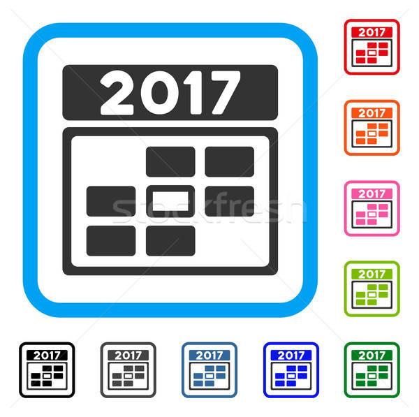 2017 Calendar Week Day Framed Icon Stock photo © ahasoft