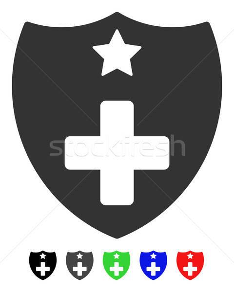 Medische verzekering schild icon vector pictogram Stockfoto © ahasoft