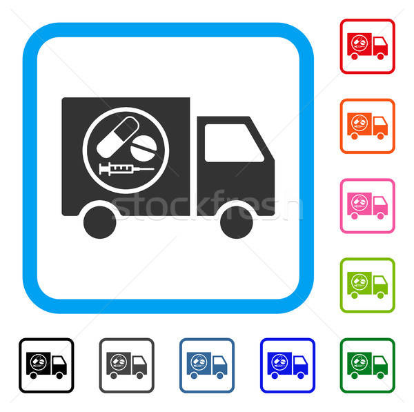 Drugstore Truck Framed Icon Stock photo © ahasoft