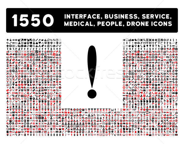 Exclamation Sign Icon and More Interface, Business, Tools, People, Medical, Awards Flat Glyph Icons Stock photo © ahasoft