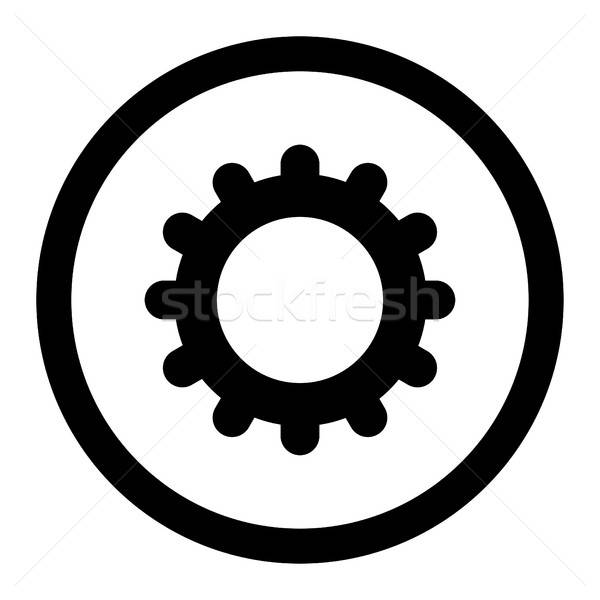 Gear flat black color rounded vector icon Stock photo © ahasoft
