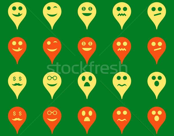 Foto stock: Emoción · mapa · marcador · iconos · establecer · estilo