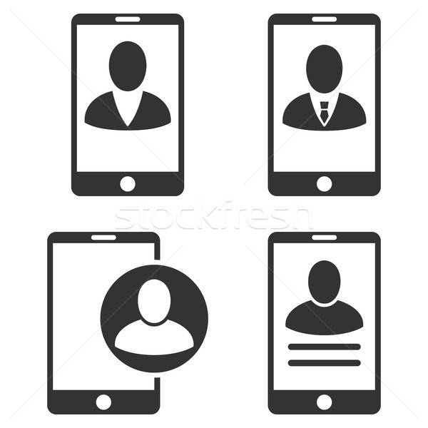 Mobile User Profile Vector Flat Icon Set Stock photo © ahasoft