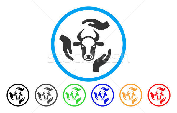 Cow Care Hands Rounded Icon Stock photo © ahasoft