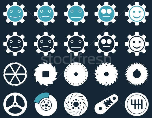 Tools glimlach versnellingen iconen stijl Stockfoto © ahasoft