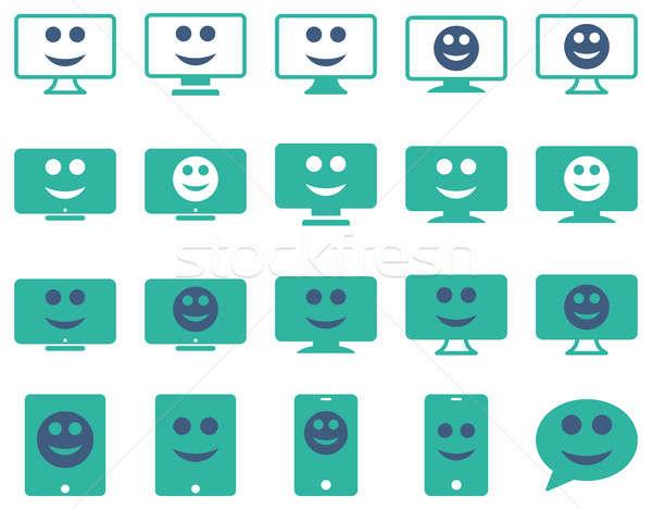 улыбается мобильных иконки набор стиль Сток-фото © ahasoft