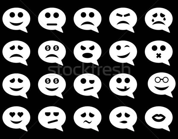 Stock fotó: Chat · érzelem · mosoly · ikonok · vektor · szett