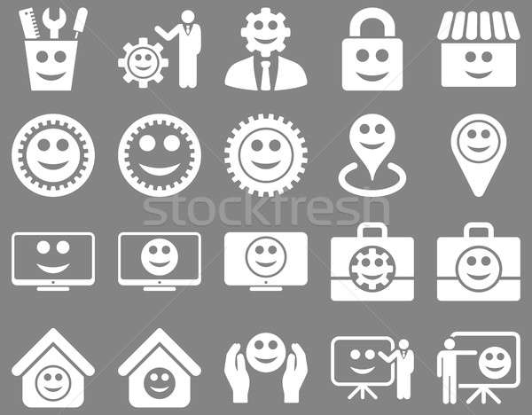Tools, gears, smiles, management icons. Stock photo © ahasoft
