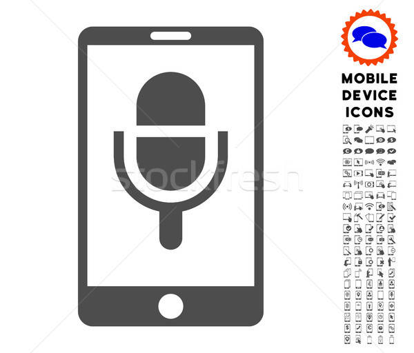 Phone Microphone Icon with Set Stock photo © ahasoft