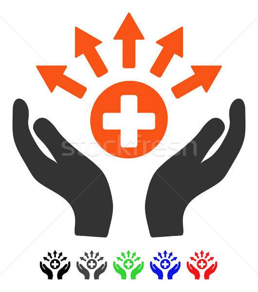 Medycznych dystrybucja opieki ręce ikona wektora Zdjęcia stock © ahasoft