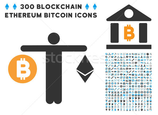 Person Compare Cryptocurrency Flat Icon with Clip Art Stock photo © ahasoft