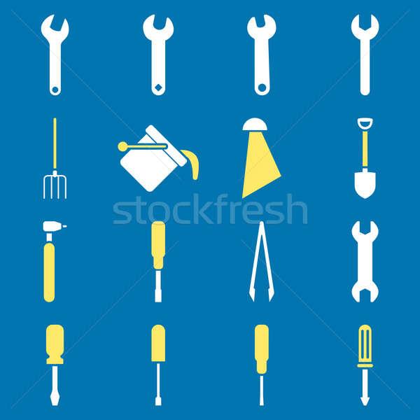 Tools stijl symbolen Geel witte Stockfoto © ahasoft