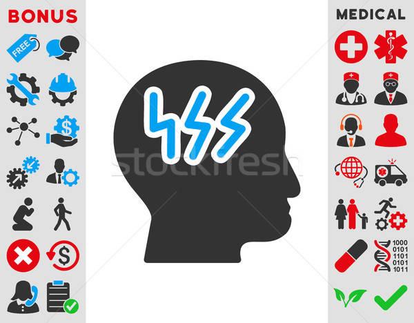 Dolor de cabeza icono vector estilo símbolo azul Foto stock © ahasoft