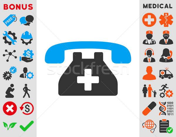 Klinika telefon ikon stílus szimbólum kék Stock fotó © ahasoft