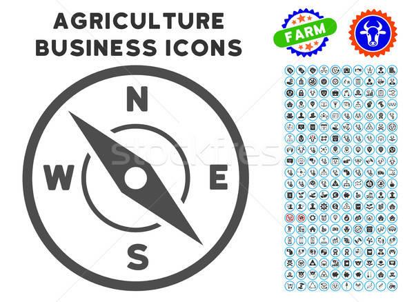 Brújula icono agricultura establecer gris comerciales Foto stock © ahasoft