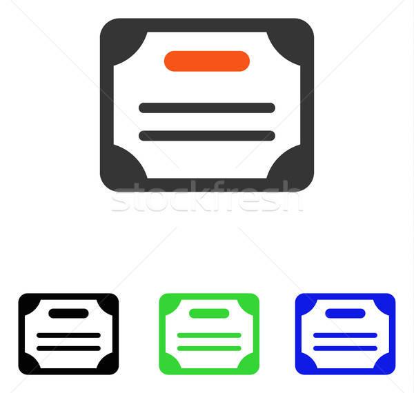 Stok fotoğraf: Sertifika · vektör · ikon · örnek · stil · ikonik