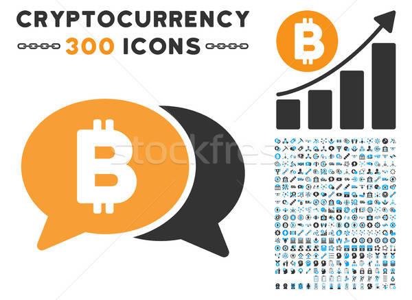 Bitcoin chat icône puce contrat photos Photo stock © ahasoft