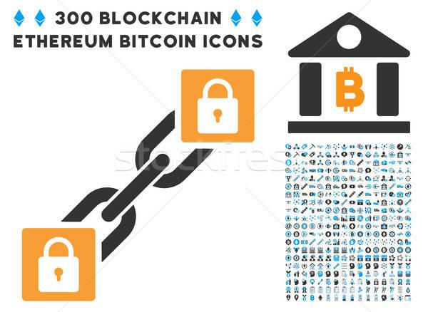 Lock Blockchain Flat Icon with Set Stock photo © ahasoft