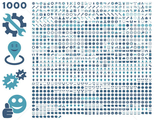 1000 tools, gears, smiles, map markers, mobile icons Stock photo © ahasoft