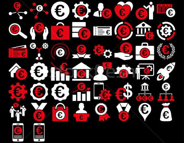 Euros negocios iconos rojo blanco colores Foto stock © ahasoft