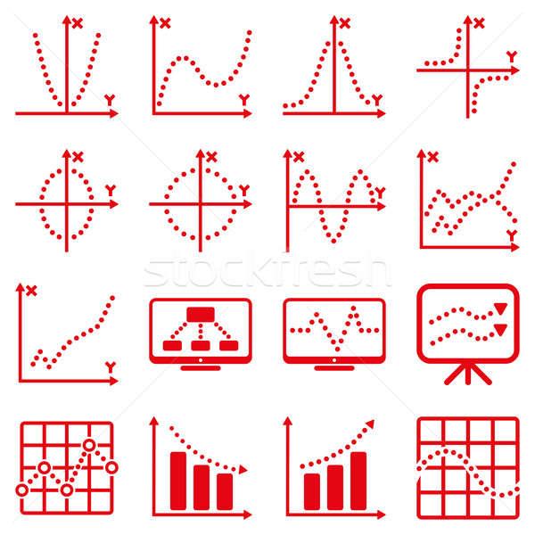 Punteggiata infografica business icone rosso Foto d'archivio © ahasoft